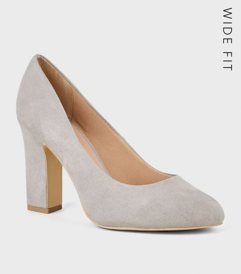 4fcd61811a6 ... Extra Wide Fit Grey Suedette Court Shoes ...