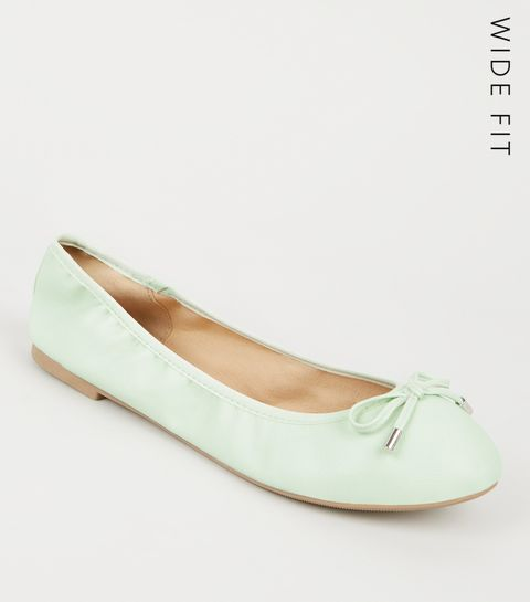 ... Wide Fit Mint Green Leather-Look Ballet Pumps ... 2cdfa1605f40