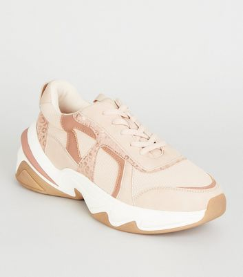 Nude Leather-Look Colour Block Chunky Trainers