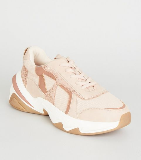 e066c203734 ... Nude Leather-Look Colour Block Chunky Trainers ...