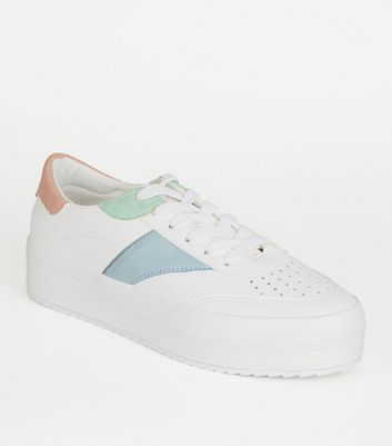 White Leather-Look Colour Block Trainers