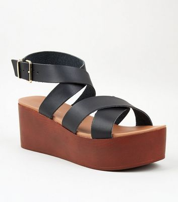 Black Leather-Look Strappy Flatform Sandals