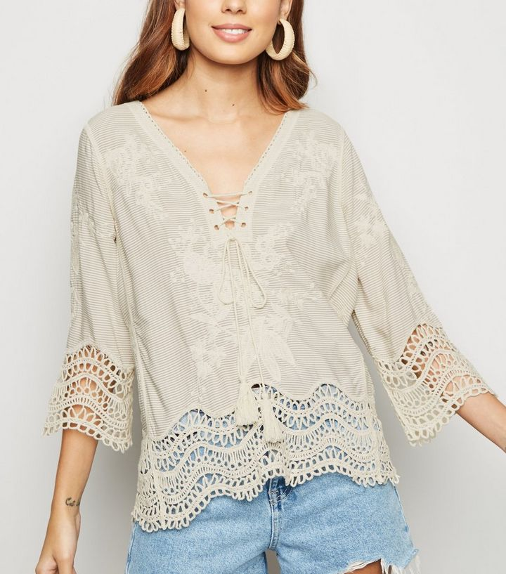 White Stripe Lace Up Crochet Top New Look