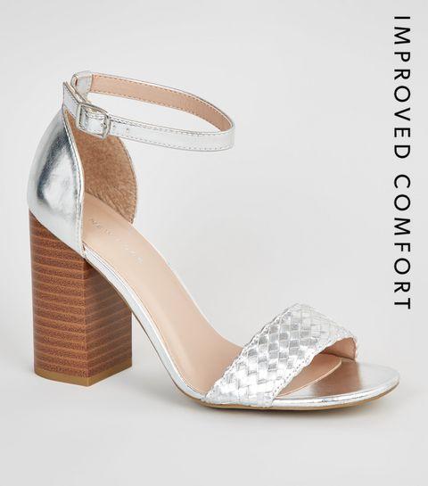 e7e84a5b1f2 ... Silver Woven Strap Block Heel Sandals ...