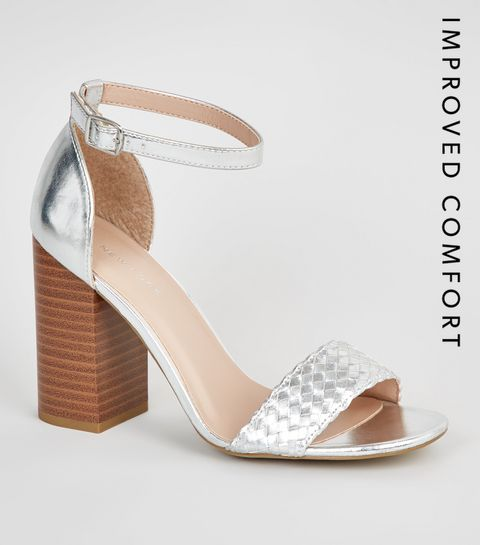 9ce15de7962d ... Silver Woven Strap Block Heel Sandals ...