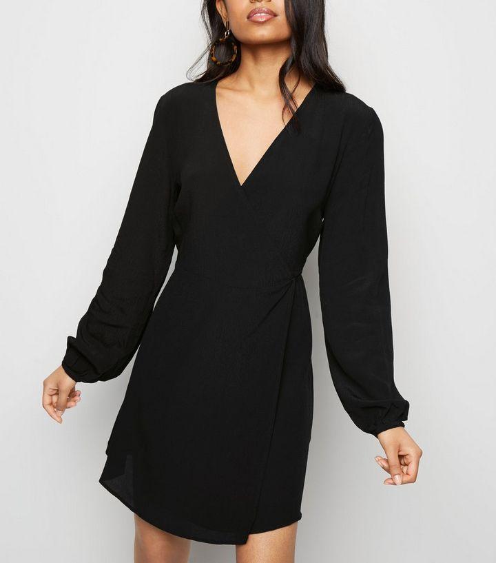 Petite Black Tie Waist Wrap Mini Dress New Look