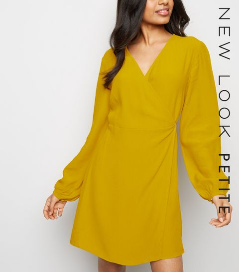 129d7d3d1b ... Petite Yellow Tie Waist Wrap Mini Dress ...