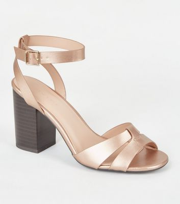 Rose Gold Metallic Strappy 2 Part Heels