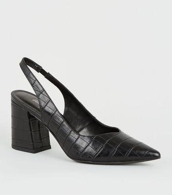 Black Faux Croc Flared Heel Slingbacks