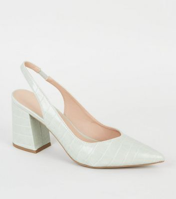 Mint Faux Croc Flared Heel Slingbacks