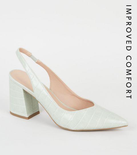 e5a4e326d8288b ... Mint Faux Croc Flare Heel Pointed Slingbacks ...