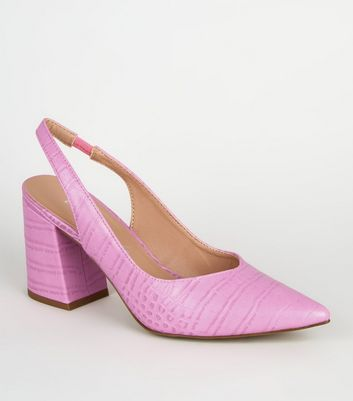 Pale Pink Faux Croc Flared Heel Slingbacks