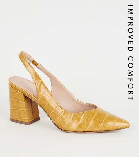 01734eb6cd27 ... Mustard Faux Croc Flare Heel Slingbacks ...