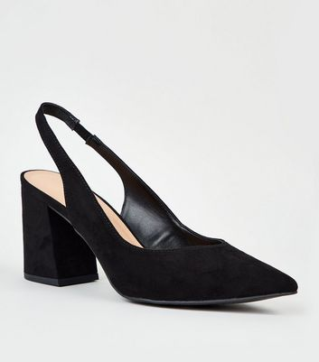 Black Sudette Pointed Flare Heel Slingbacks