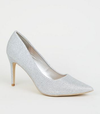 Silver Glitter Pointed Court Shoes