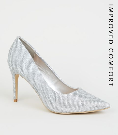 c72121bb8ec Silver Glitter Pointed Court Shoes · Silver Glitter Pointed Court Shoes ...