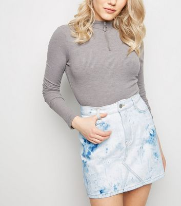 Petite Blue Tie Dye Denim Mom Skirt