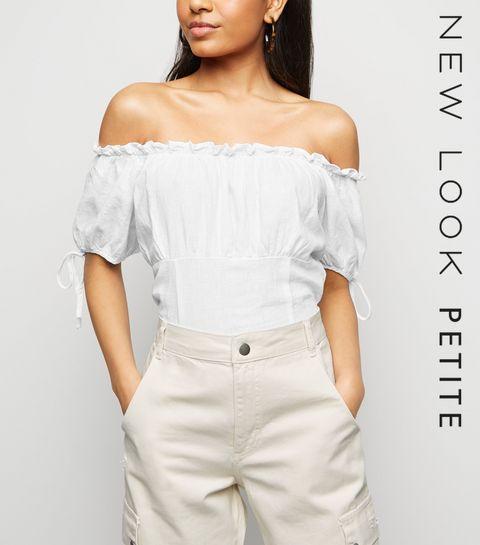 46f292719d4 ... Petite White Linen Blend Shirred Back Bardot ...
