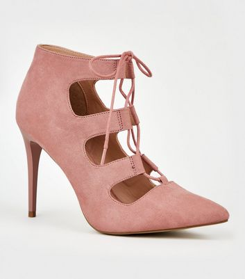 Pink Suedette Pointed Ghillie Court Shoes
