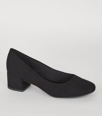 Black Suedette Low Block Heel Court Shoes