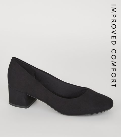 59dda8e2c23c ... Black Suedette Low Block Heel Court Shoes ...