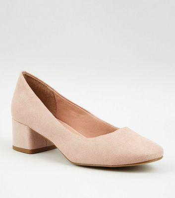 Nude Suedette Low Block Heel Court Shoes