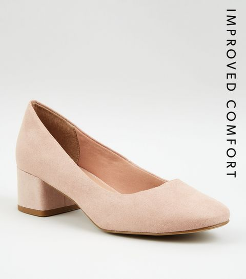 b7c48a7f7805 ... Nude Suedette Low Block Heel Court Shoes ...