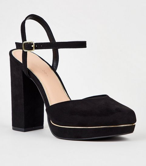 866029250129 ... Black Suedette 2 Part Platform Block Heels ...