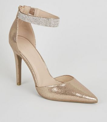 Rose Gold Diamanté Strap Court Shoes
