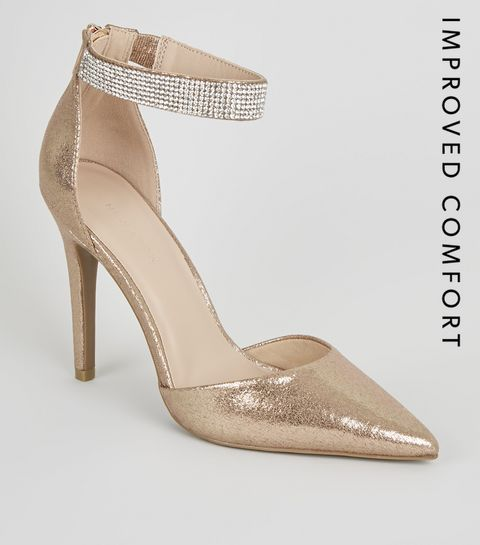 7996c129b12 ... Rose Gold Diamanté Strap Court Shoes ...