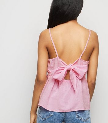 Petite Bright Pink Tie Back Cami
