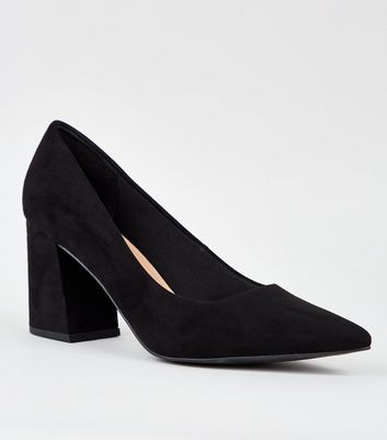 Black Pointed Flare Heel Court Shoes