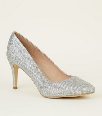 Silver Glitter Stiletto Heel Court Shoes