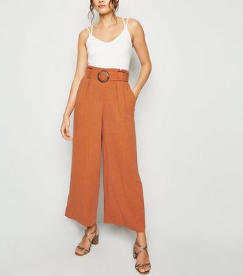 Tall Rust Linen Look Crop Trousers