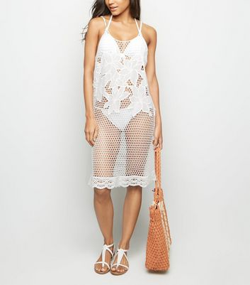 White Appliqué Mesh Beach Dress
