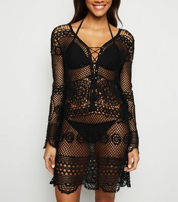Black Lace Up Long Sleeve Crochet Kaftan