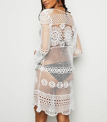 White Lace Up Long Sleeve Lace Kaftan New Look