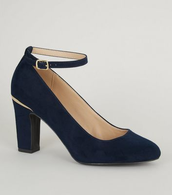 Navy Suedette Ankle Strap Block Heel Courts