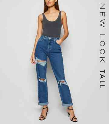 Tall Blue Multi Ripped Mom Jeans