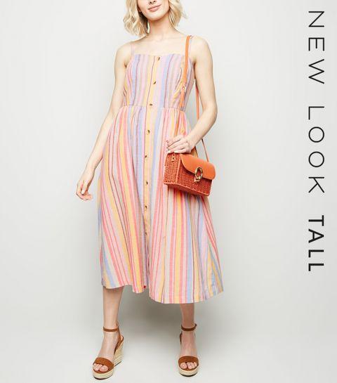 d1e2772732 ... Tall Pink Multi Stripe Button Up Midi Dress ...