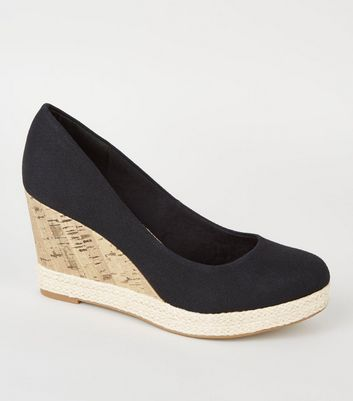 Black Comfort Cork Espadrille Trim Wedge Heels