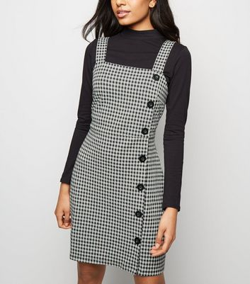 Petite Black Gingham Button Side Pinafore Dress by New Look