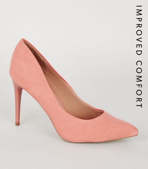 7e493d8d0db ... Coral Suedette Pointed Court Shoes ...