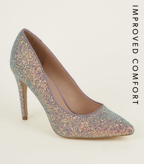 58850e4cb9ca ... Lilac Glitter Pointed Court Shoes ...