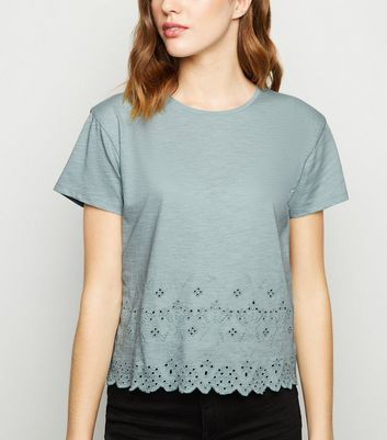 Mint Green Broderie Scallop Hem T-Shirt
