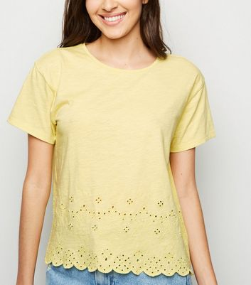 Pale Yellow Broderie Scallop Hem T-Shirt