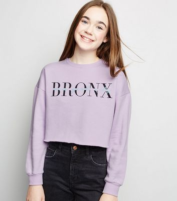 Girls - Sweat lilas à slogan Bronx New York City