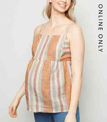 Maternity White Stripe Linen Blend Cami
