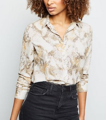 Tall Brown Snake Print Chiffon Longline Shirt