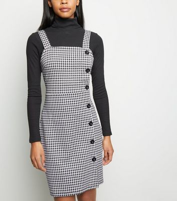Tall Black Gingham Button Side Pinafore Dress